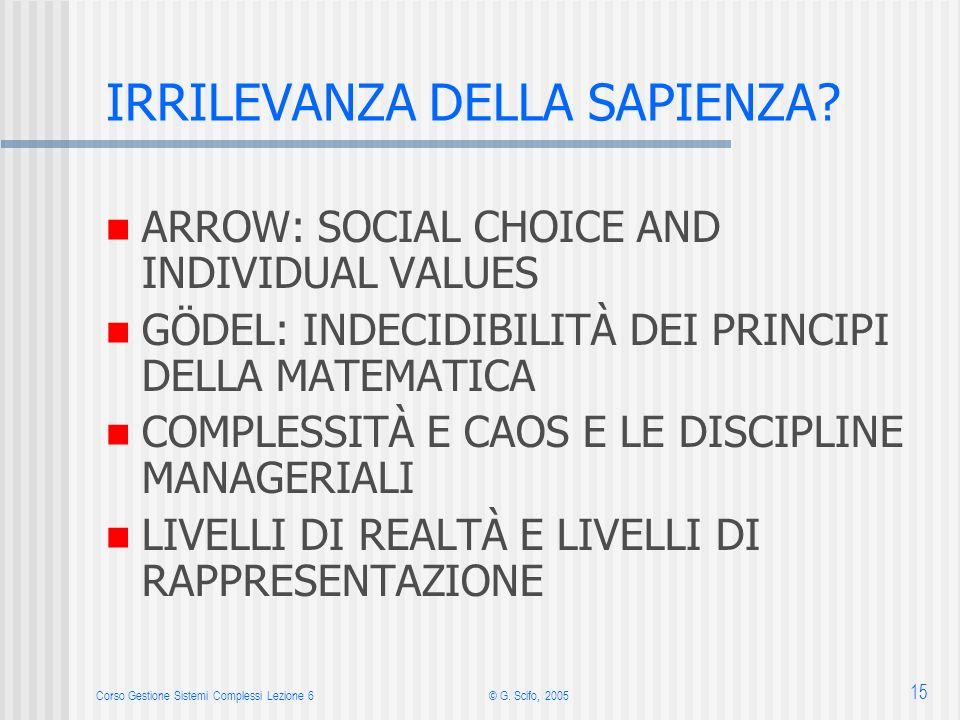 Corso Gestione Sistemi Complessi Lezione 6© G. Scifo, 2005 15 IRRILEVANZA DELLA SAPIENZA? ARROW: SOCIAL CHOICE AND INDIVIDUAL VALUES GÖDEL: INDECIDIBI