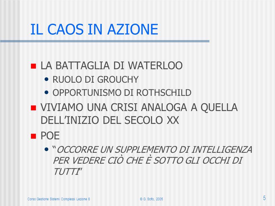 Corso Gestione Sistemi Complessi Lezione 6© G. Scifo, 2005 5 IL CAOS IN AZIONE LA BATTAGLIA DI WATERLOO RUOLO DI GROUCHY OPPORTUNISMO DI ROTHSCHILD VI