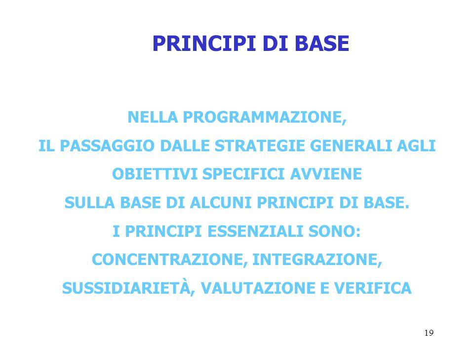 19 PRINCIPI DI BASE NELLA PROGRAMMAZIONE, IL PASSAGGIO DALLE STRATEGIE GENERALI AGLI OBIETTIVI SPECIFICI AVVIENE SULLA BASE DI ALCUNI PRINCIPI DI BASE.
