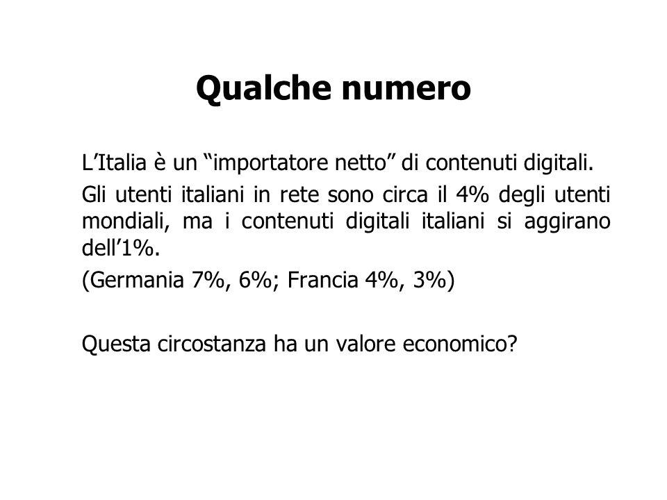 Qualche numero LItalia è un importatore netto di contenuti digitali. Gli utenti italiani in rete sono circa il 4% degli utenti mondiali, ma i contenut