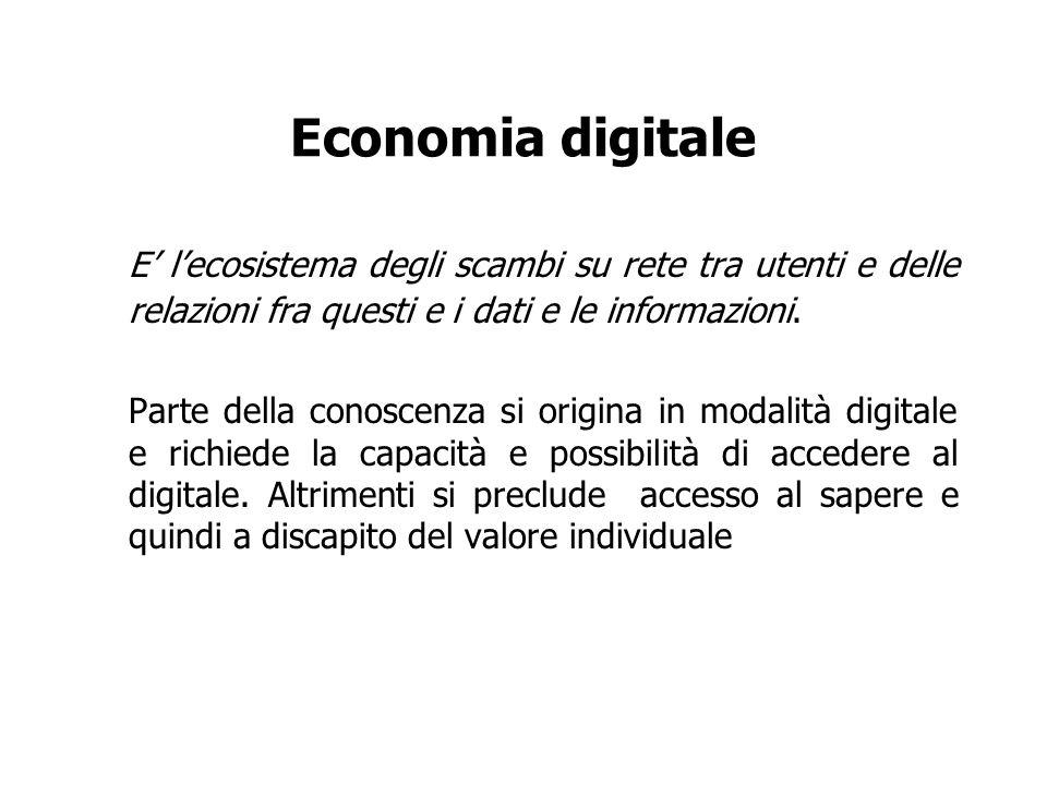 Economia digitale E lecosistema degli scambi su rete tra utenti e delle relazioni fra questi e i dati e le informazioni. Parte della conoscenza si ori