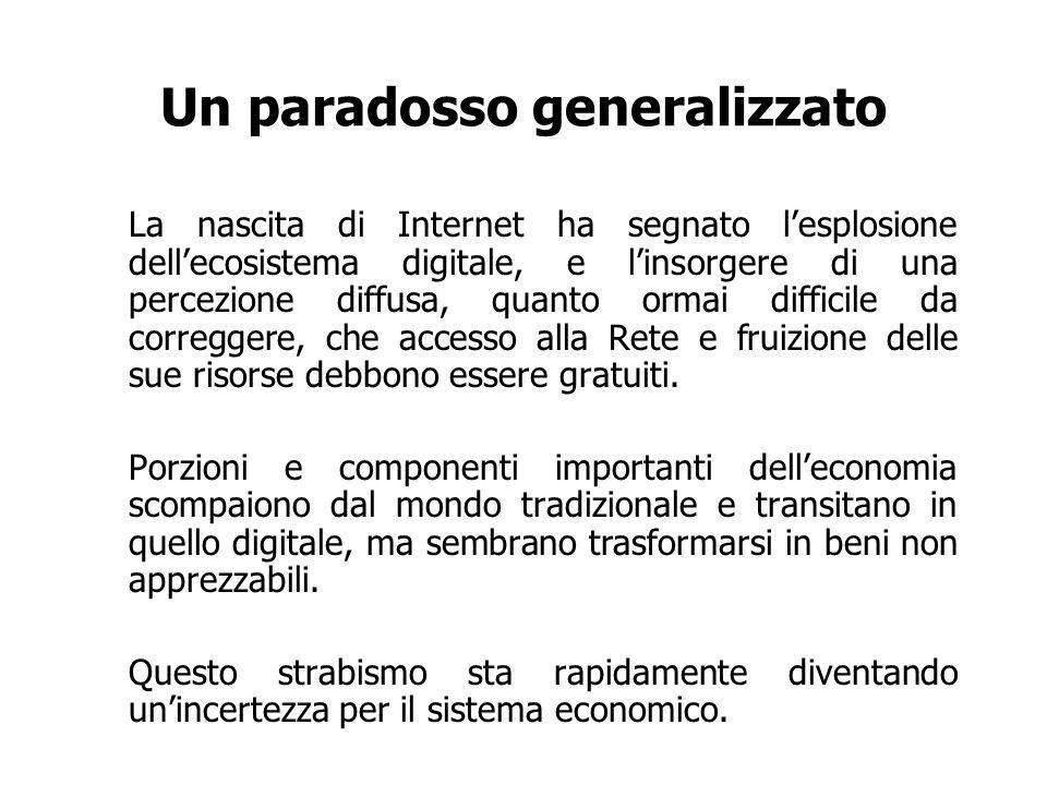 Un paradosso generalizzato La nascita di Internet ha segnato lesplosione dellecosistema digitale, e linsorgere di una percezione diffusa, quanto ormai