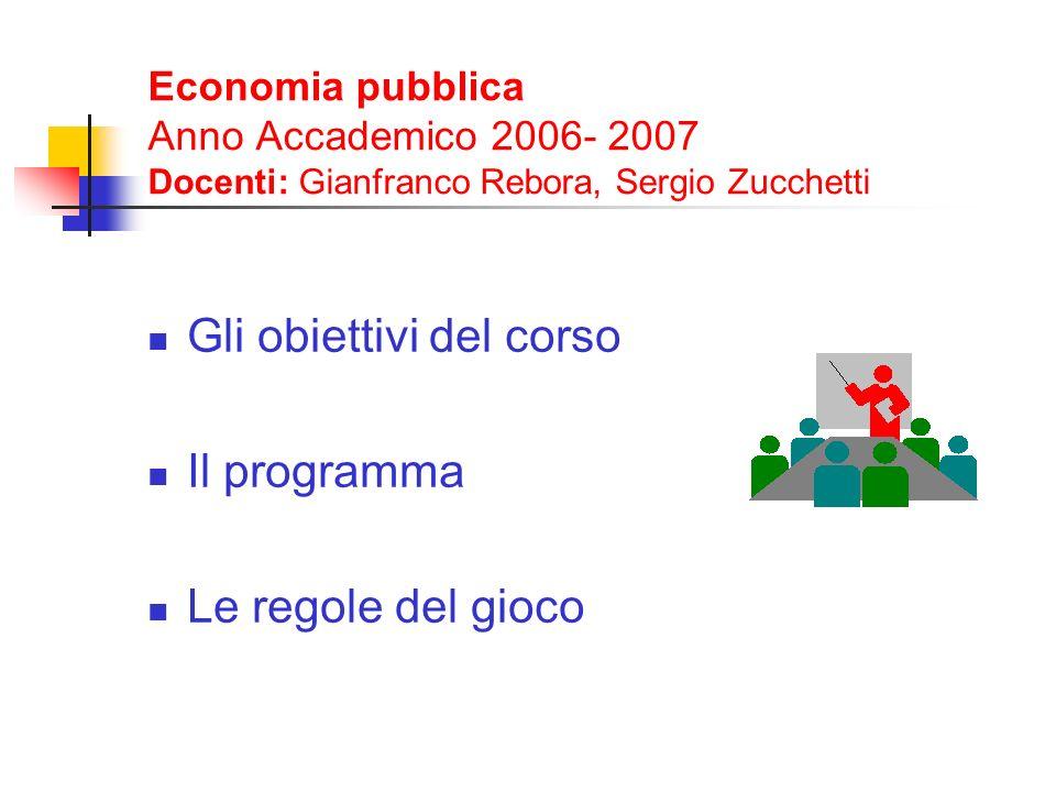 Economia pubblica Anno Accademico 2006- 2007 Docenti: Gianfranco Rebora, Sergio Zucchetti Gli obiettivi del corso Il programma Le regole del gioco