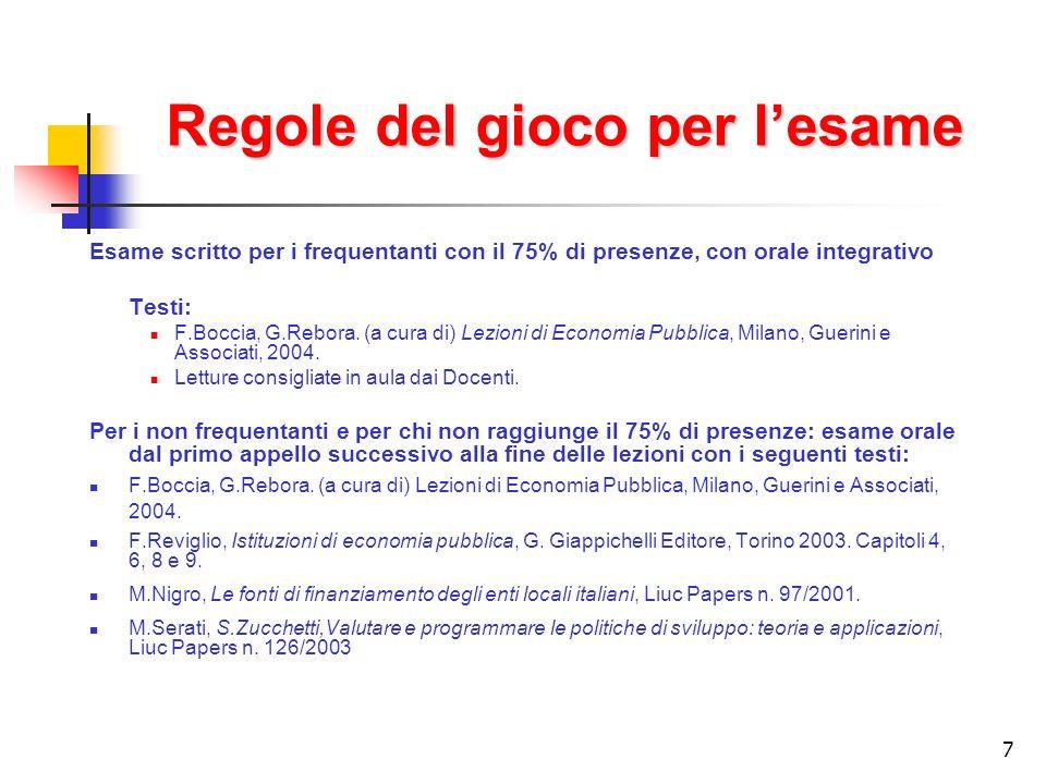 7 Regole del gioco per lesame Esame scritto per i frequentanti con il 75% di presenze, con orale integrativo Testi: F.Boccia, G.Rebora.