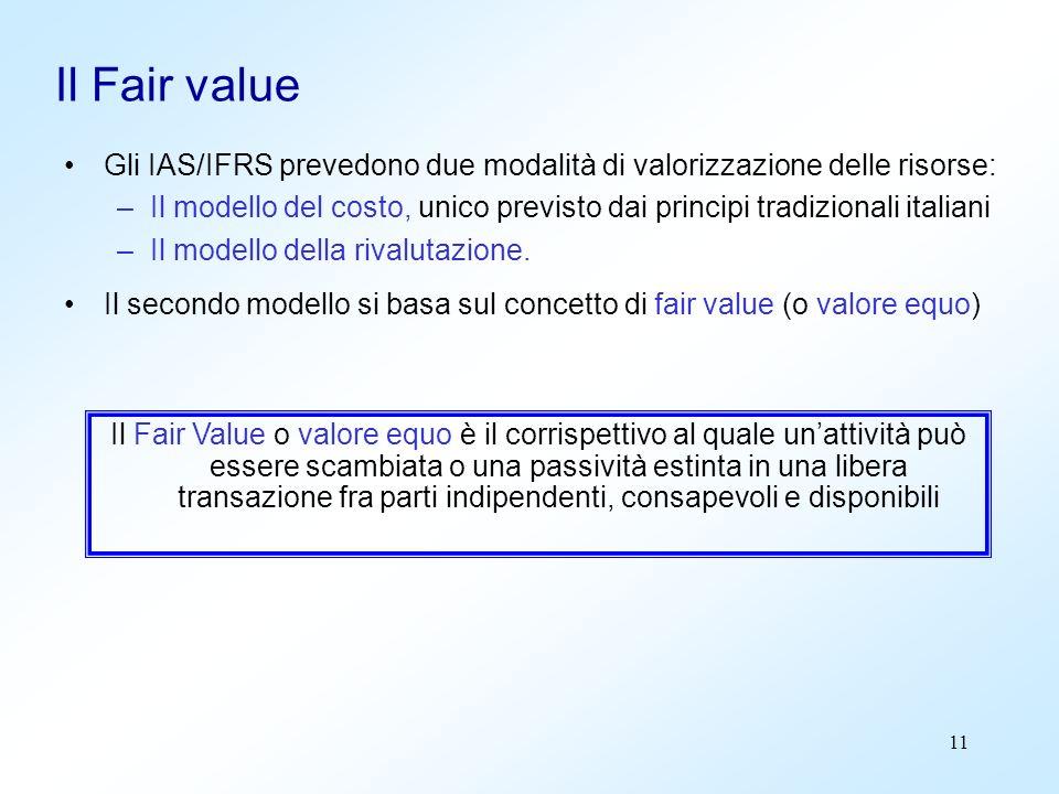 11 Il Fair value Gli IAS/IFRS prevedono due modalità di valorizzazione delle risorse: –Il modello del costo, unico previsto dai principi tradizionali