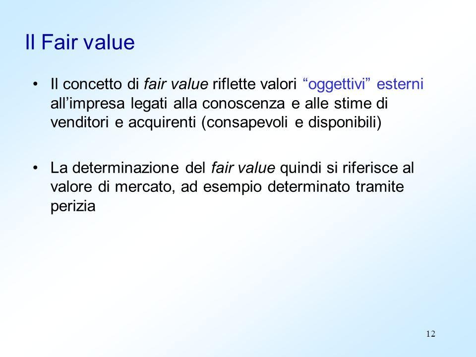 12 Il Fair value Il concetto di fair value riflette valori oggettivi esterni allimpresa legati alla conoscenza e alle stime di venditori e acquirenti
