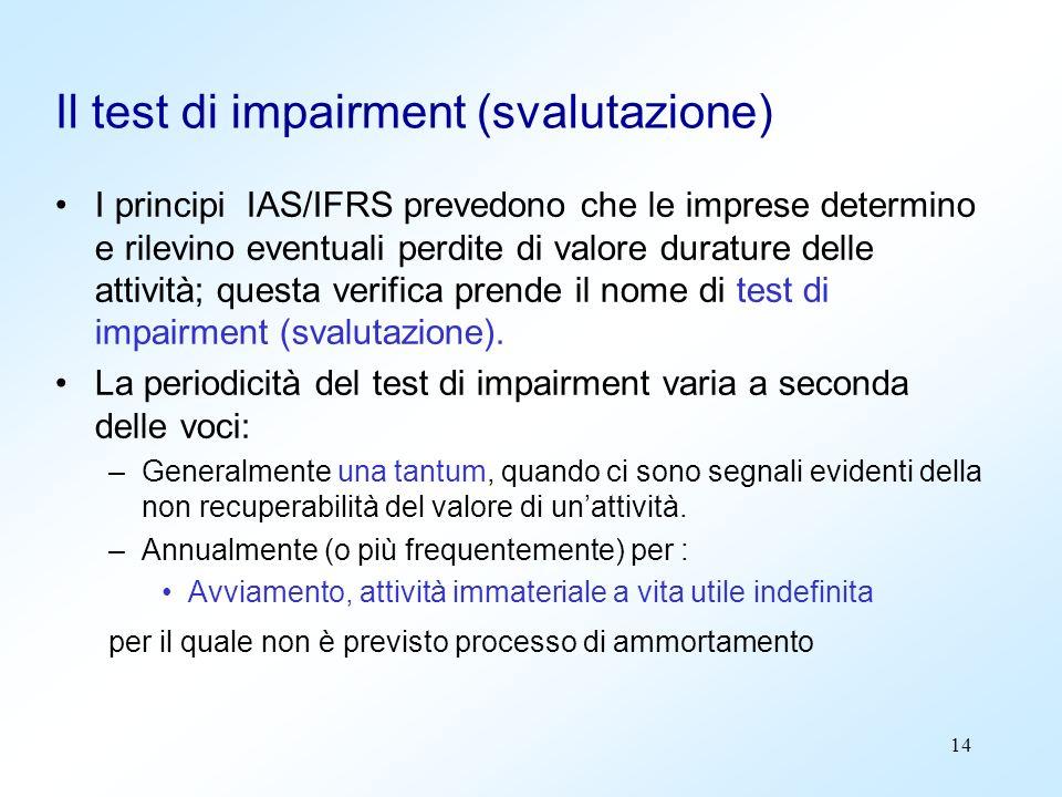 14 Il test di impairment (svalutazione) I principi IAS/IFRS prevedono che le imprese determino e rilevino eventuali perdite di valore durature delle a
