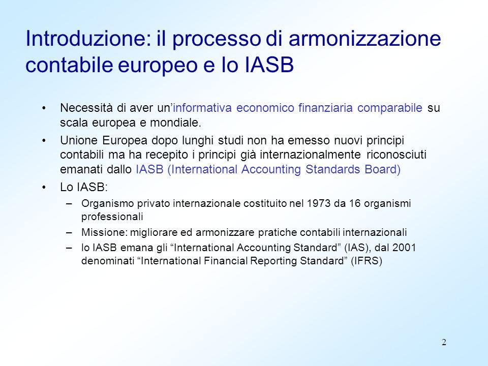 2 Introduzione: il processo di armonizzazione contabile europeo e lo IASB Necessità di aver uninformativa economico finanziaria comparabile su scala e