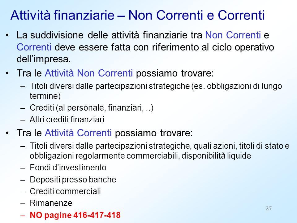 27 Attività finanziarie – Non Correnti e Correnti La suddivisione delle attività finanziarie tra Non Correnti e Correnti deve essere fatta con riferim