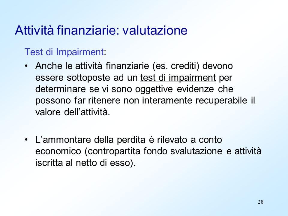 28 Attività finanziarie: valutazione Test di Impairment: Anche le attività finanziarie (es. crediti) devono essere sottoposte ad un test di impairment