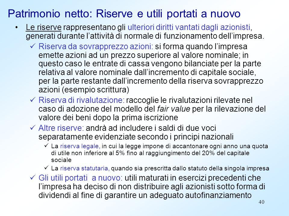 40 Patrimonio netto: Riserve e utili portati a nuovo Le riserve rappresentano gli ulteriori diritti vantati dagli azionisti, generati durante lattivit