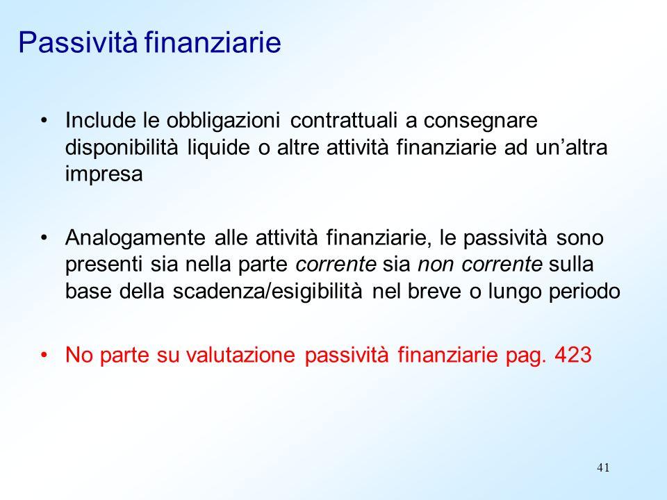 41 Passività finanziarie Include le obbligazioni contrattuali a consegnare disponibilità liquide o altre attività finanziarie ad unaltra impresa Analo
