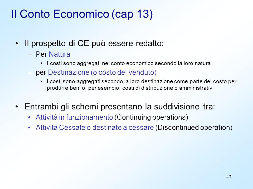 47 Il Conto Economico (cap 13) Il prospetto di CE può essere redatto: –Per Natura I costi sono aggregati nel conto economico secondo la loro natura –p