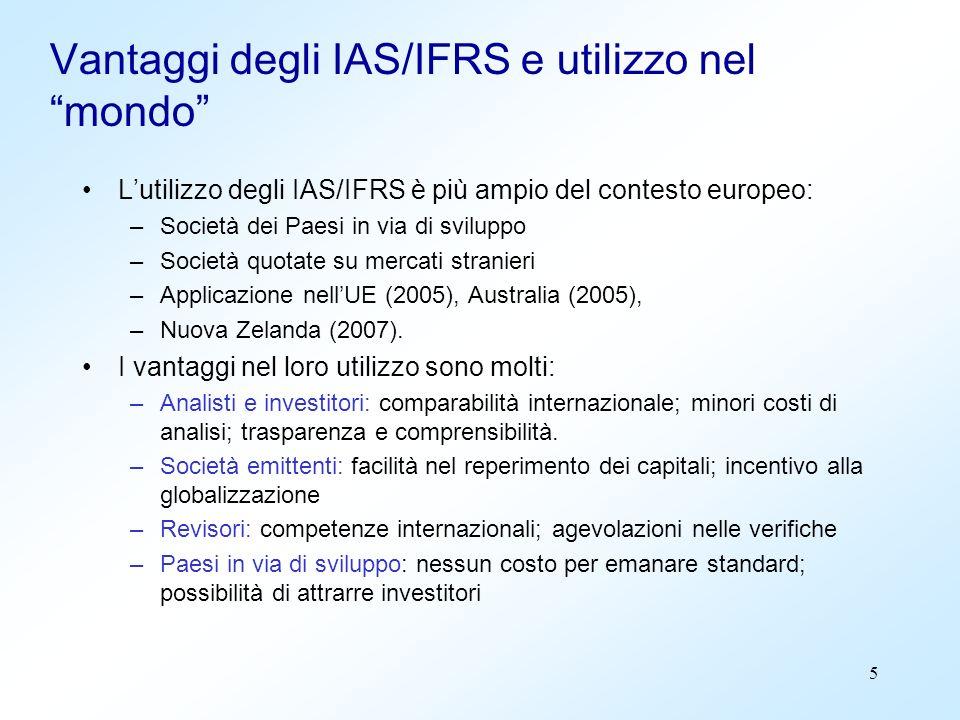 5 Vantaggi degli IAS/IFRS e utilizzo nel mondo Lutilizzo degli IAS/IFRS è più ampio del contesto europeo: –Società dei Paesi in via di sviluppo –Socie