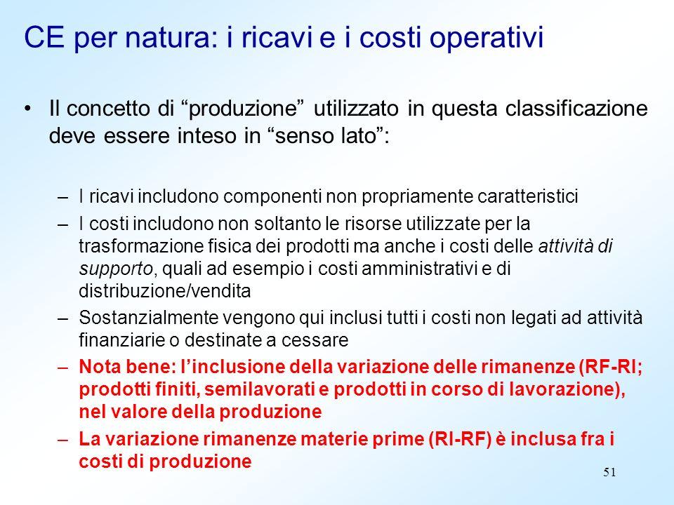 51 Il concetto di produzione utilizzato in questa classificazione deve essere inteso in senso lato: –I ricavi includono componenti non propriamente ca