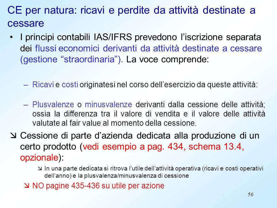 56 CE per natura: ricavi e perdite da attività destinate a cessare I principi contabili IAS/IFRS prevedono liscrizione separata dei flussi economici d