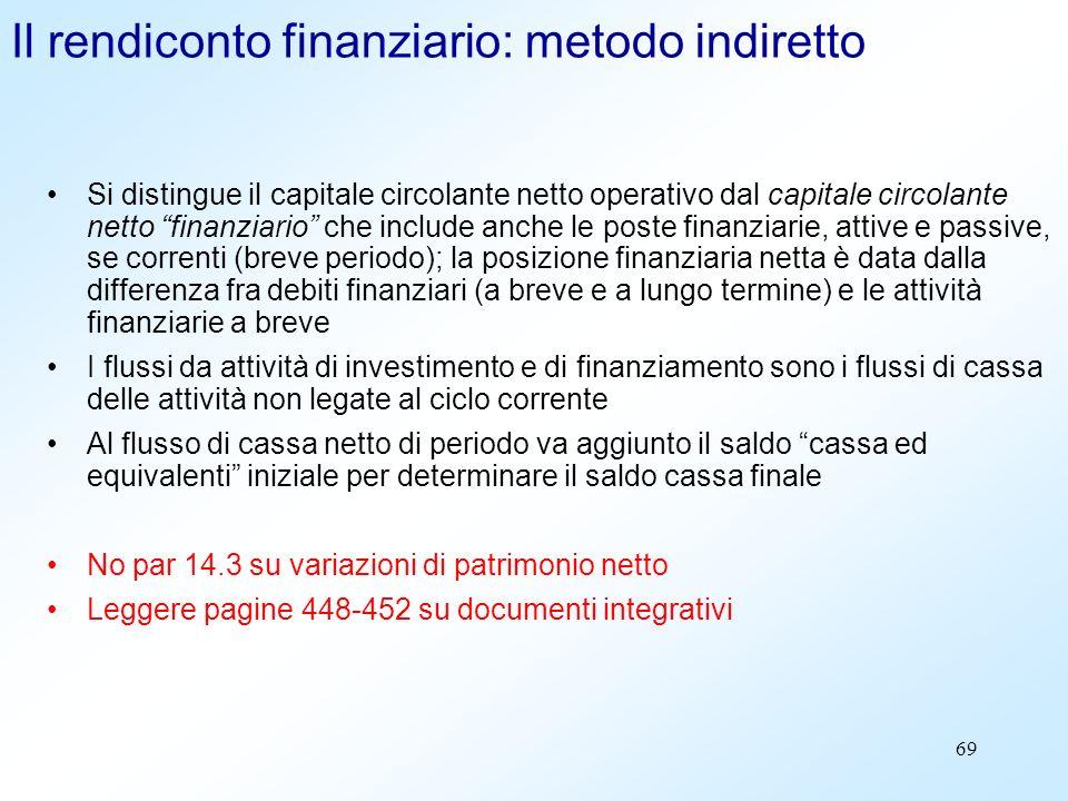 69 Il rendiconto finanziario: metodo indiretto Si distingue il capitale circolante netto operativo dal capitale circolante netto finanziario che inclu
