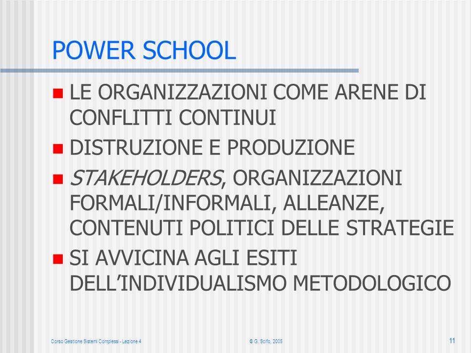 Corso Gestione Sistemi Complessi - Lezione 4© G. Scifo, 2005 11 POWER SCHOOL LE ORGANIZZAZIONI COME ARENE DI CONFLITTI CONTINUI DISTRUZIONE E PRODUZIO