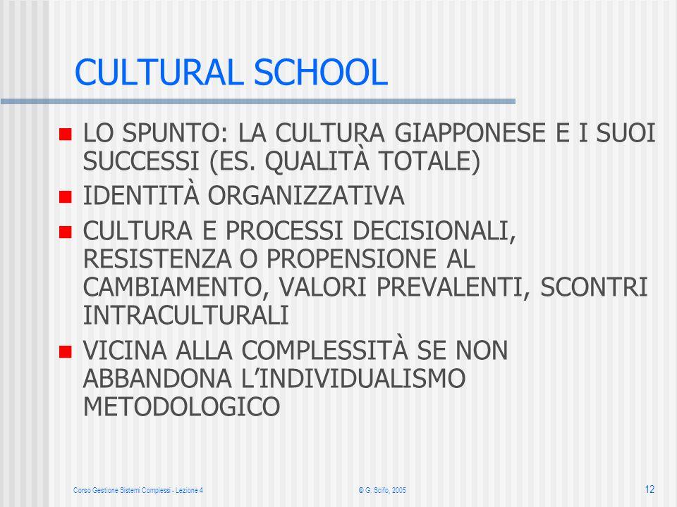 Corso Gestione Sistemi Complessi - Lezione 4© G. Scifo, 2005 12 CULTURAL SCHOOL LO SPUNTO: LA CULTURA GIAPPONESE E I SUOI SUCCESSI (ES. QUALITÀ TOTALE