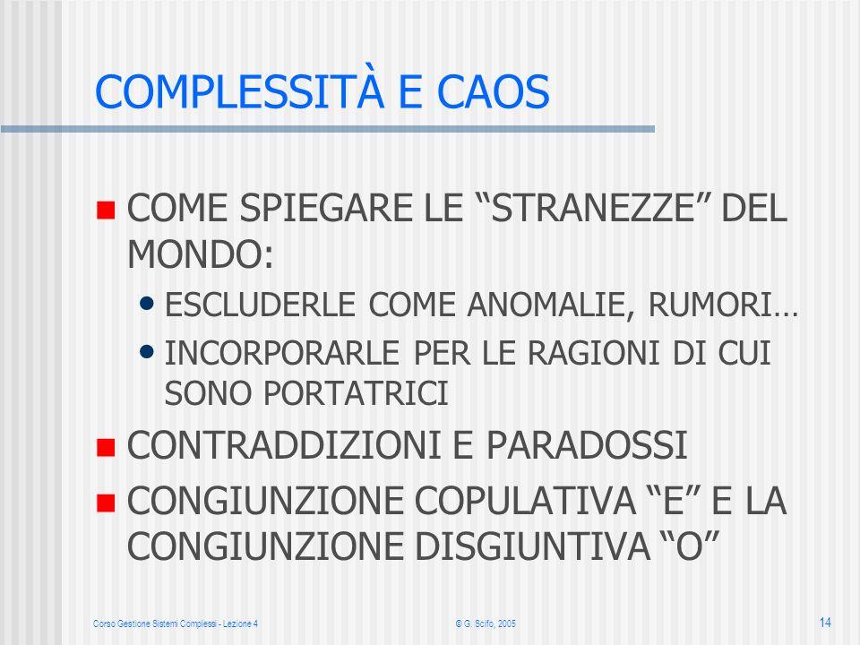 Corso Gestione Sistemi Complessi - Lezione 4© G. Scifo, 2005 14 COMPLESSITÀ E CAOS COME SPIEGARE LE STRANEZZE DEL MONDO: ESCLUDERLE COME ANOMALIE, RUM