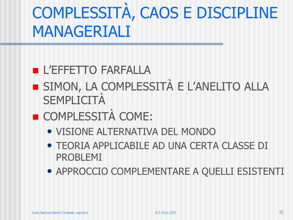 Corso Gestione Sistemi Complessi - Lezione 4© G. Scifo, 2005 15 COMPLESSITÀ, CAOS E DISCIPLINE MANAGERIALI LEFFETTO FARFALLA SIMON, LA COMPLESSITÀ E L