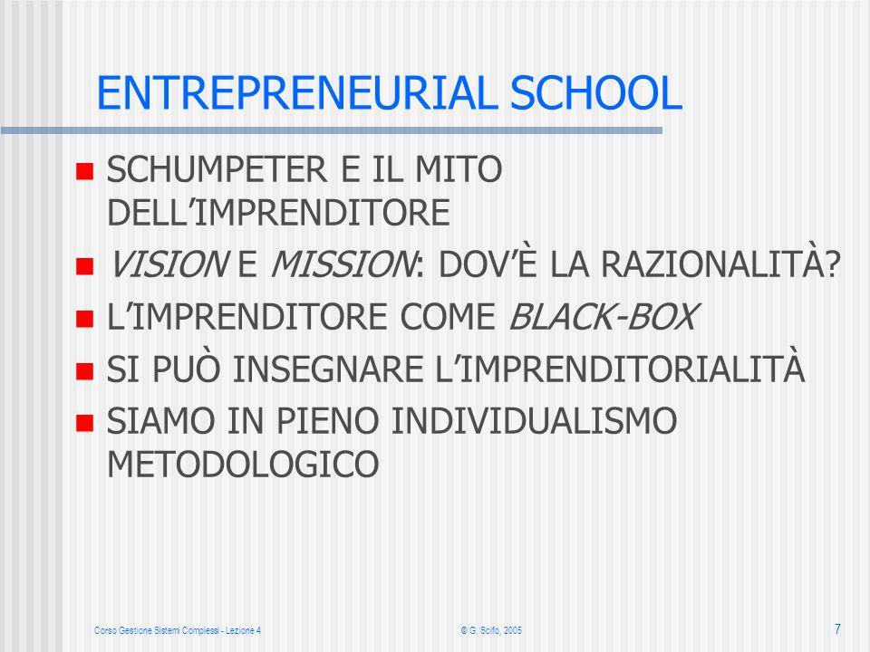 Corso Gestione Sistemi Complessi - Lezione 4© G. Scifo, 2005 7 ENTREPRENEURIAL SCHOOL SCHUMPETER E IL MITO DELLIMPRENDITORE VISION E MISSION: DOVÈ LA