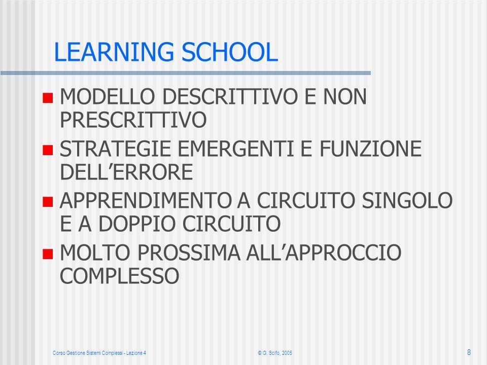 Corso Gestione Sistemi Complessi - Lezione 4© G. Scifo, 2005 8 LEARNING SCHOOL MODELLO DESCRITTIVO E NON PRESCRITTIVO STRATEGIE EMERGENTI E FUNZIONE D