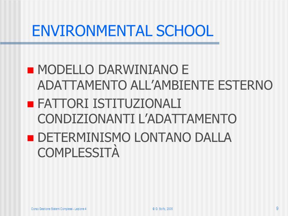 Corso Gestione Sistemi Complessi - Lezione 4© G. Scifo, 2005 9 ENVIRONMENTAL SCHOOL MODELLO DARWINIANO E ADATTAMENTO ALLAMBIENTE ESTERNO FATTORI ISTIT