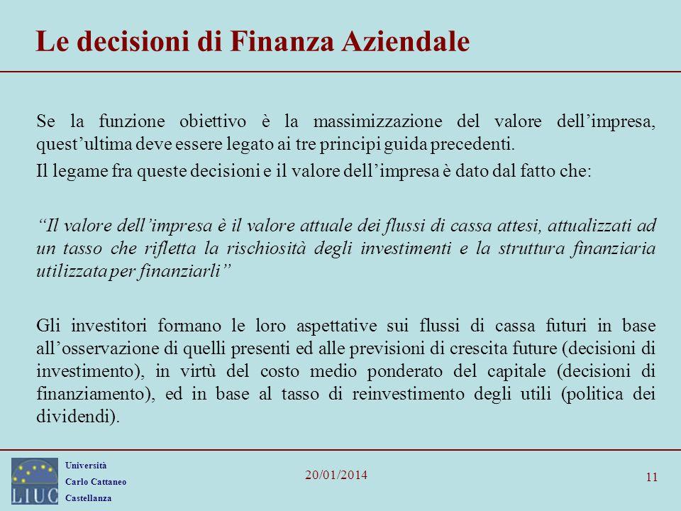 Università Carlo Cattaneo Castellanza 20/01/2014 11 Le decisioni di Finanza Aziendale Se la funzione obiettivo è la massimizzazione del valore dellimp