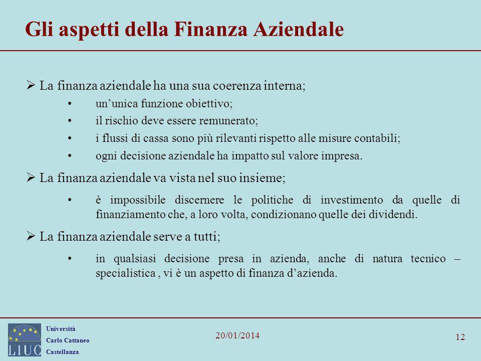 Università Carlo Cattaneo Castellanza 20/01/2014 12 Gli aspetti della Finanza Aziendale La finanza aziendale ha una sua coerenza interna; ununica funz