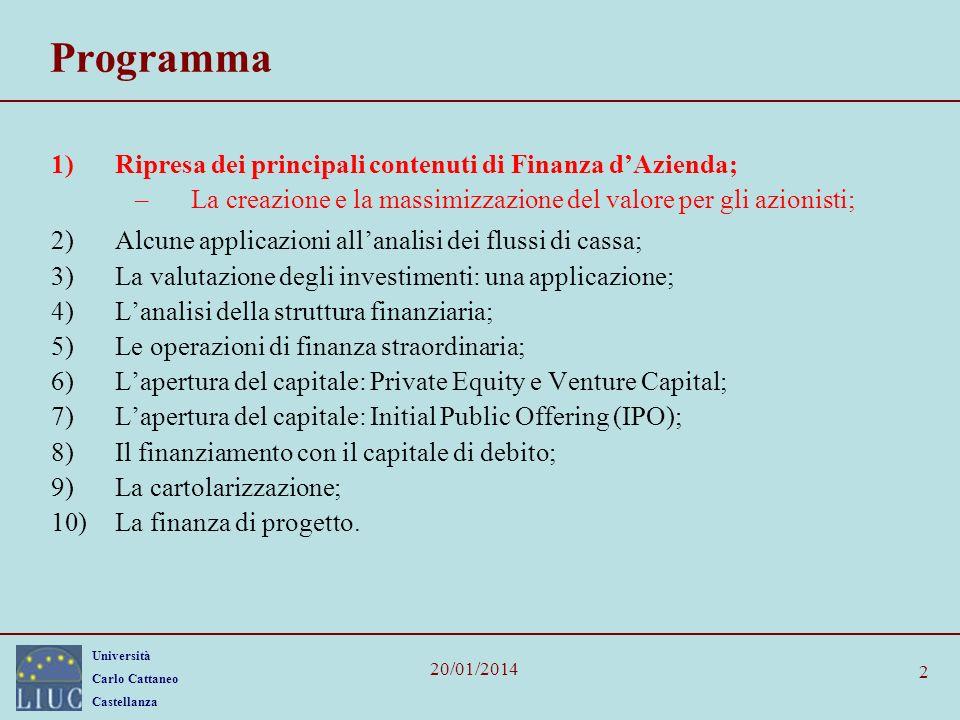Università Carlo Cattaneo Castellanza 20/01/2014 2 Programma 1)Ripresa dei principali contenuti di Finanza dAzienda; –La creazione e la massimizzazion