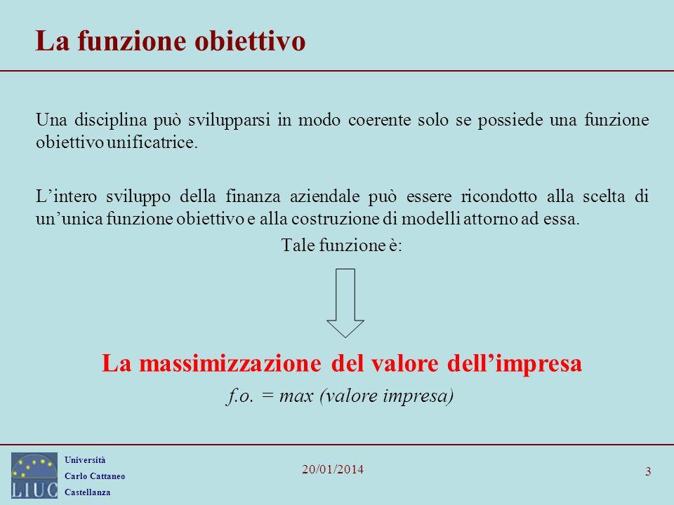 Università Carlo Cattaneo Castellanza 20/01/2014 4 La funzione obiettivo: diverse interpretazioni Posto che la funzione obiettivo della finanza aziendale è la massimizzazione del valore dellazienda, tale definizione può condurre a tre diverse interpretazioni riferite a valore dazienda 2.