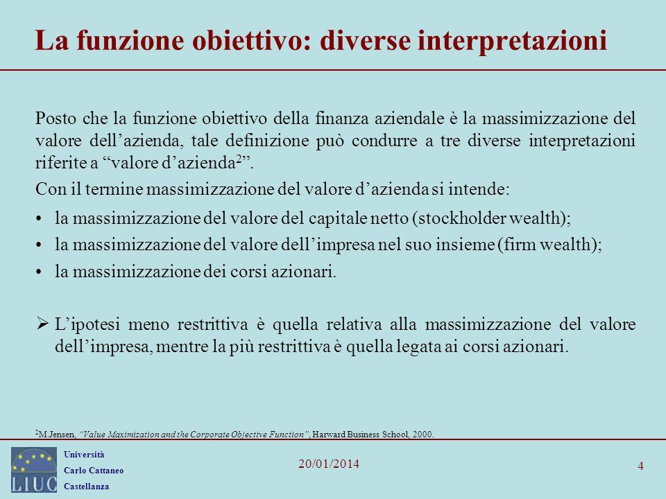 Università Carlo Cattaneo Castellanza 20/01/2014 4 La funzione obiettivo: diverse interpretazioni Posto che la funzione obiettivo della finanza aziend