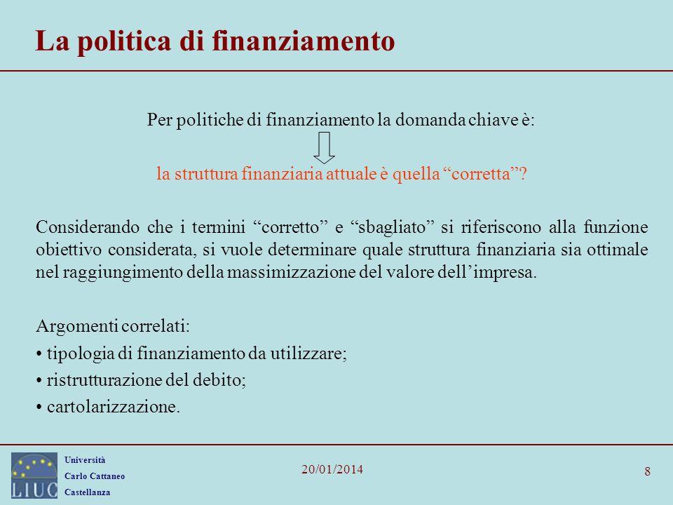 Università Carlo Cattaneo Castellanza 20/01/2014 8 La politica di finanziamento Per politiche di finanziamento la domanda chiave è: la struttura finan
