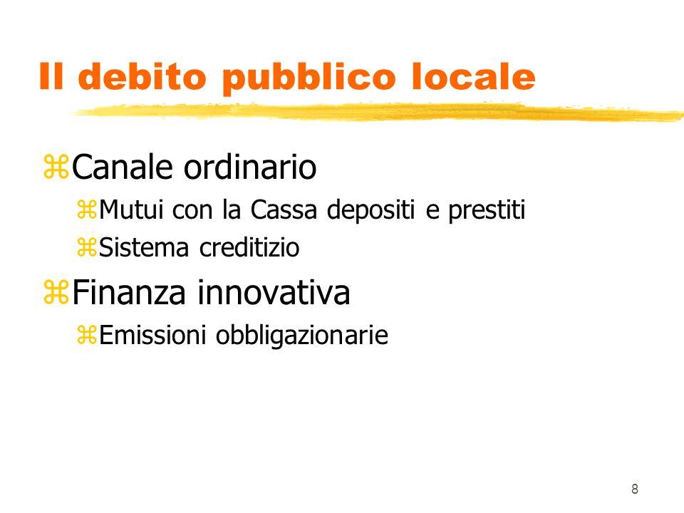 8 Il debito pubblico locale zCanale ordinario zMutui con la Cassa depositi e prestiti zSistema creditizio zFinanza innovativa zEmissioni obbligazionarie