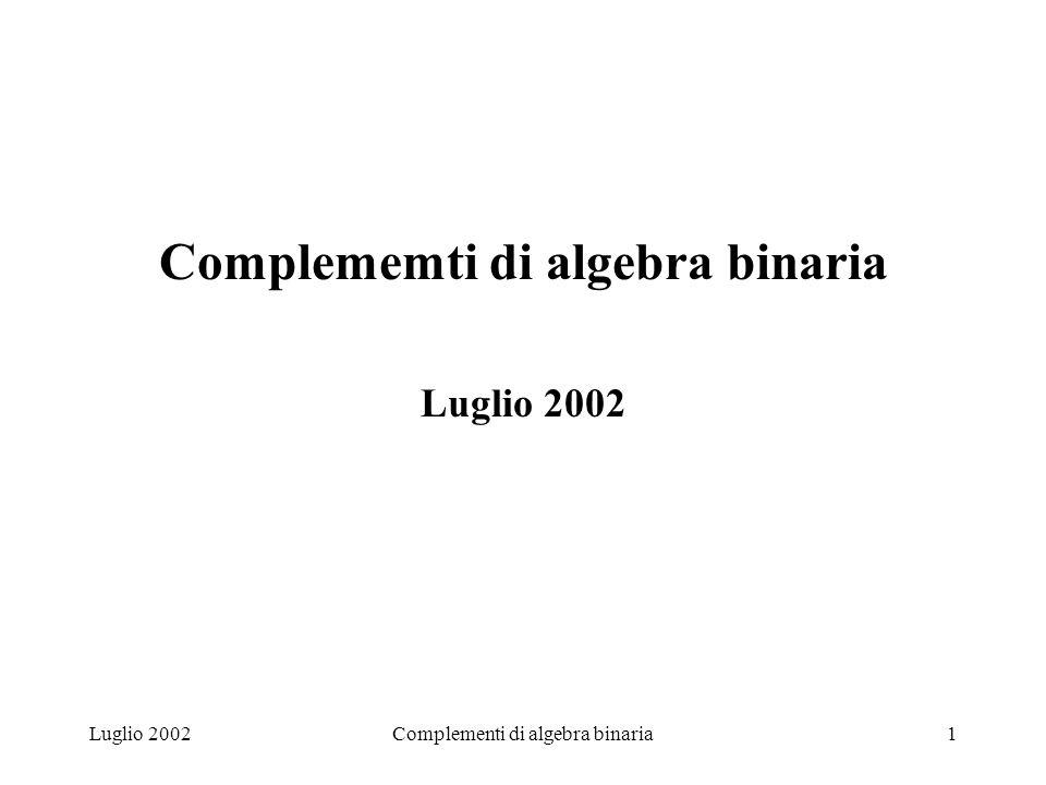 Complementi di algebra binaria2 SISTEMI DI NUMERAZIONE POSIZIONALI Basepcifre comprese0, 1, …, p-1 Numero A p di m+1 cifre A m A m-1 ……… A 1 A 0 m A P =a 0 * p 0 + a 1 * p 1 + ……+ a m-1 * p m-1 + a m * p m = a i * p i i =o