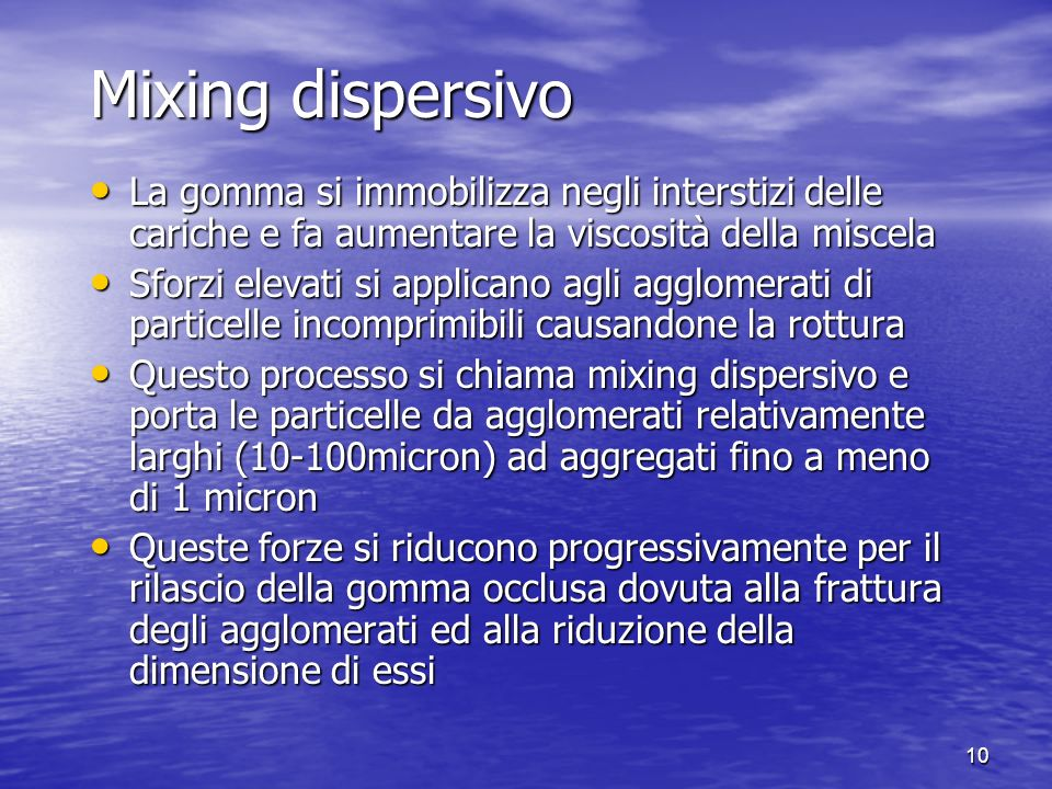 9 Confronto dellefficienza del mixing esponenziale e laminare