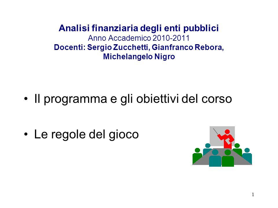 1 Analisi finanziaria degli enti pubblici Anno Accademico 2010-2011 Docenti: Sergio Zucchetti, Gianfranco Rebora, Michelangelo Nigro Il programma e gl