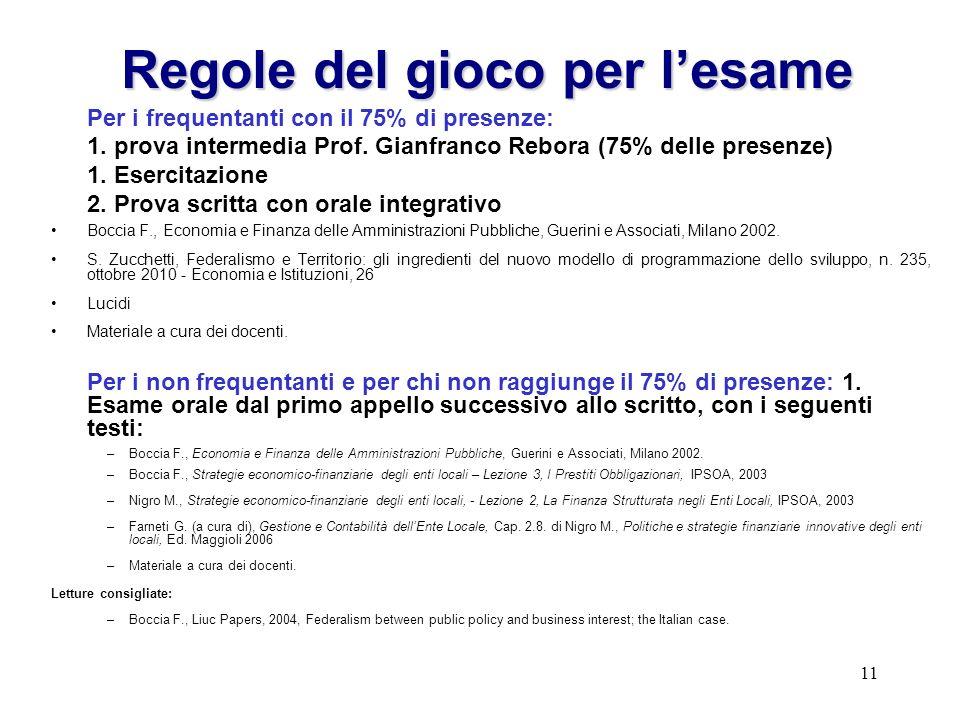 11 Regole del gioco per lesame Per i frequentanti con il 75% di presenze: 1. prova intermedia Prof. Gianfranco Rebora (75% delle presenze) 1. Esercita