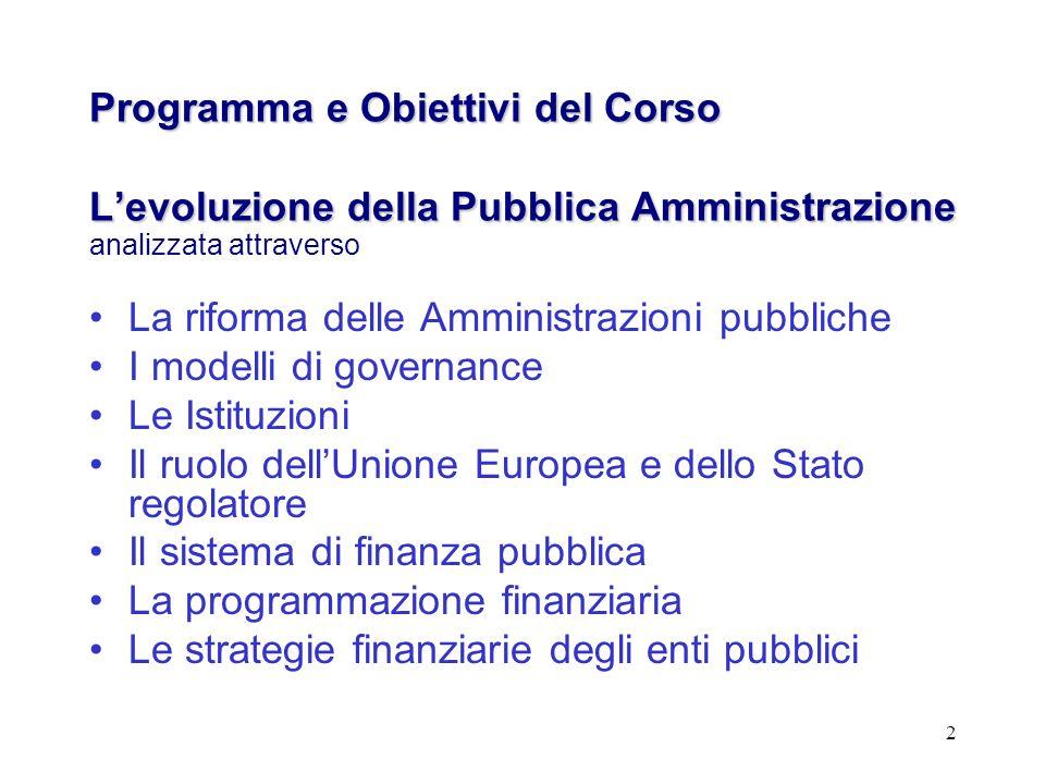2 Programma e Obiettivi del Corso Levoluzione della Pubblica Amministrazione Programma e Obiettivi del Corso Levoluzione della Pubblica Amministrazion