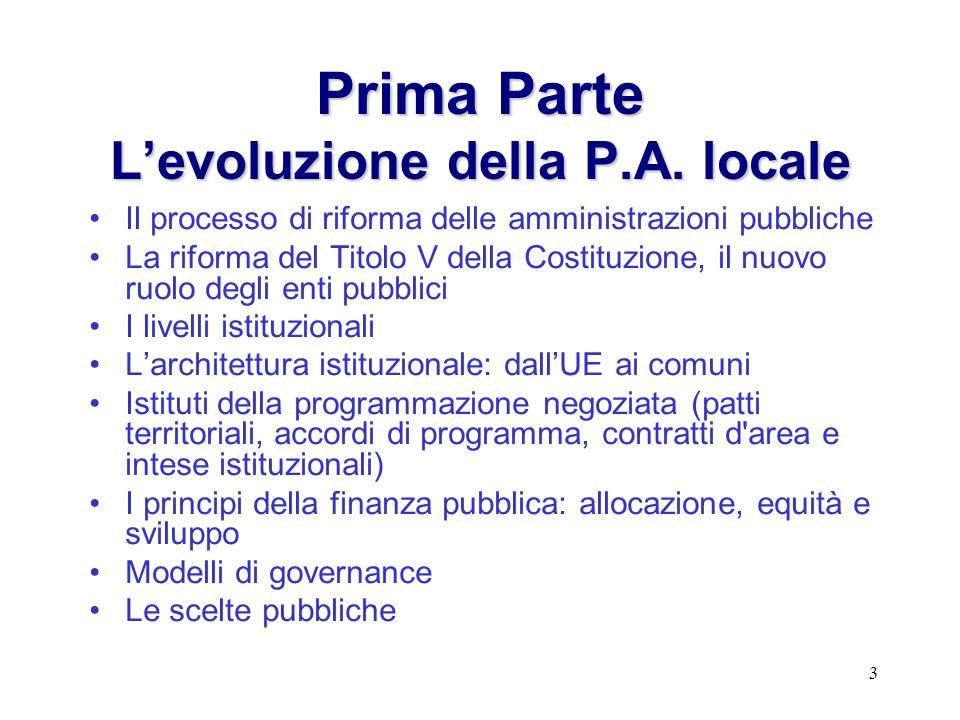 3 PrimaParte Levoluzione della P.A. locale Prima Parte Levoluzione della P.A. locale Il processo di riforma delle amministrazioni pubbliche La riforma
