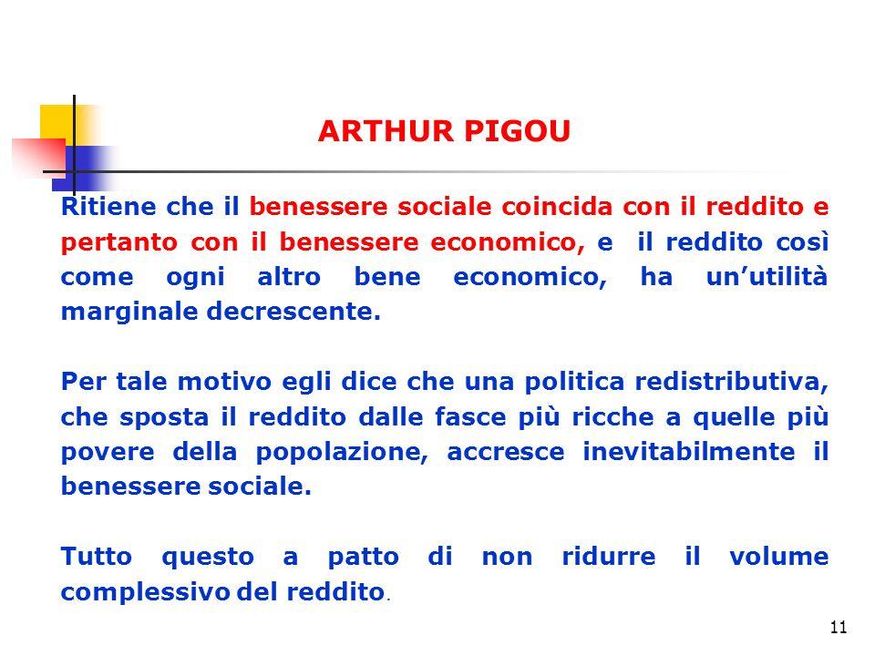11 ARTHUR PIGOU Ritiene che il benessere sociale coincida con il reddito e pertanto con il benessere economico, e il reddito così come ogni altro bene economico, ha unutilità marginale decrescente.