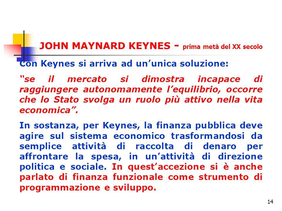 14 Con Keynes si arriva ad ununica soluzione: se il mercato si dimostra incapace di raggiungere autonomamente lequilibrio, occorre che lo Stato svolga un ruolo più attivo nella vita economica.