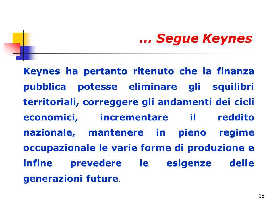15 Keynes ha pertanto ritenuto che la finanza pubblica potesse eliminare gli squilibri territoriali, correggere gli andamenti dei cicli economici, incrementare il reddito nazionale, mantenere in pieno regime occupazionale le varie forme di produzione e infine prevedere le esigenze delle generazioni future.