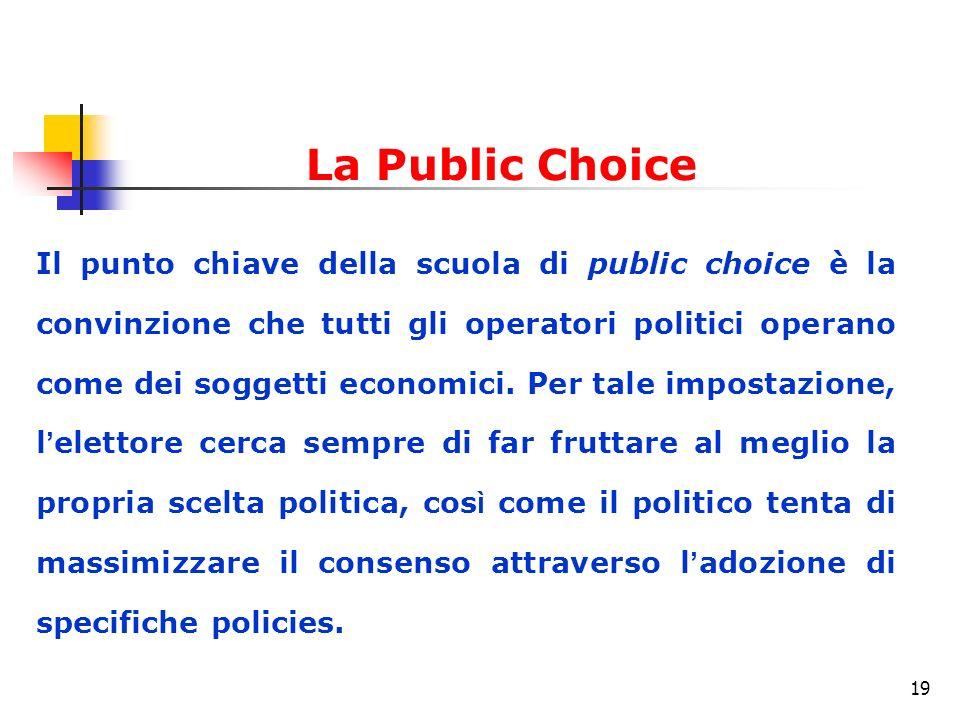 19 Il punto chiave della scuola di public choice è la convinzione che tutti gli operatori politici operano come dei soggetti economici.