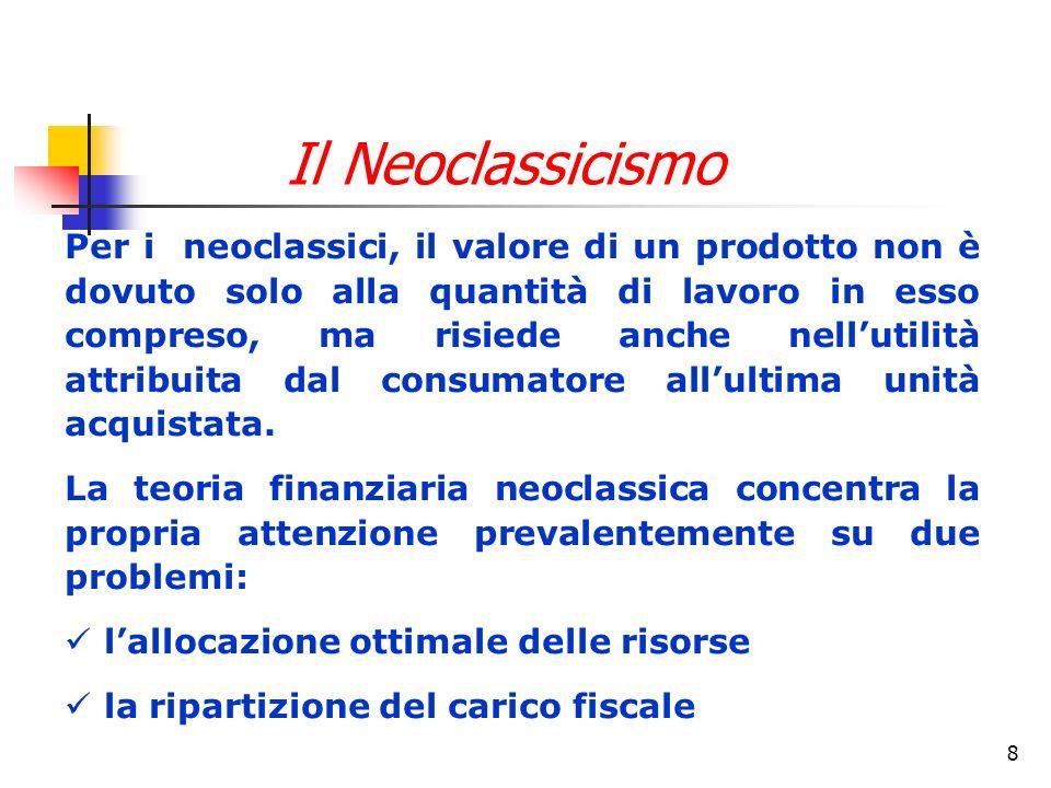 8 Per i neoclassici, il valore di un prodotto non è dovuto solo alla quantità di lavoro in esso compreso, ma risiede anche nellutilità attribuita dal consumatore allultima unità acquistata.