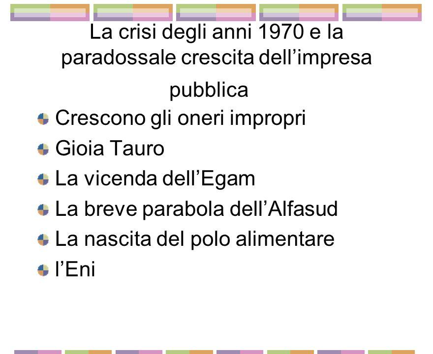Crescita dello stato imprenditore negli anni 1960 Enel e Efim lEni di Eugenio Cefis lIri e il raddoppio di Taranto lAlfa Romeo, dalla Giulia allAlfasud Nuoro ruolo della cassa pe ril Mezzogiorno e Piano Giolitti (1964)