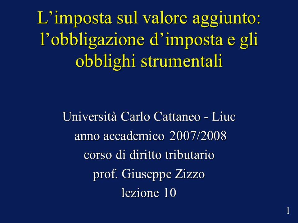 Limposta sul valore aggiunto: lobbligazione dimposta e gli obblighi strumentali Università Carlo Cattaneo - Liuc anno accademico 2007/2008 anno accademico 2007/2008 corso di diritto tributario prof.