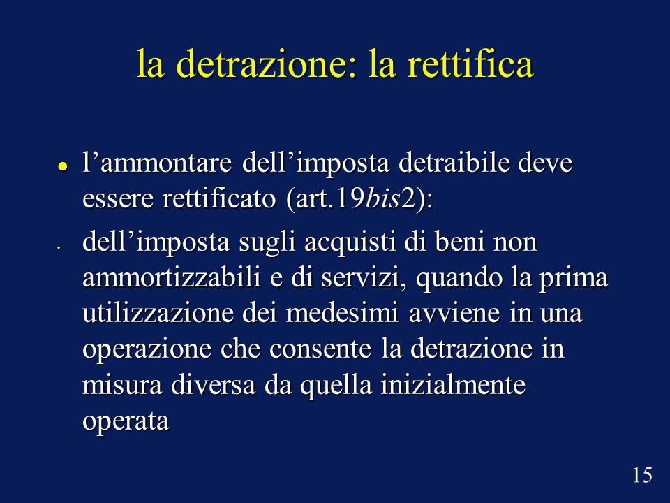 la detrazione: la rettifica lammontare dellimposta detraibile deve essere rettificato (art.19bis2): lammontare dellimposta detraibile deve essere rett