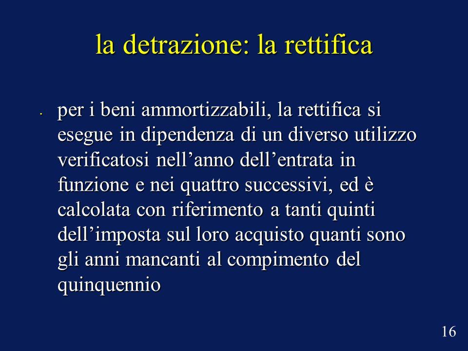 la detrazione: la rettifica per i beni ammortizzabili, la rettifica si esegue in dipendenza di un diverso utilizzo verificatosi nellanno dellentrata i